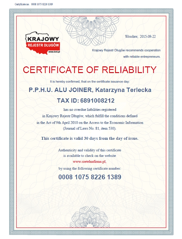 CERTIFICATE OF RELIABILITY for ALUJOINER